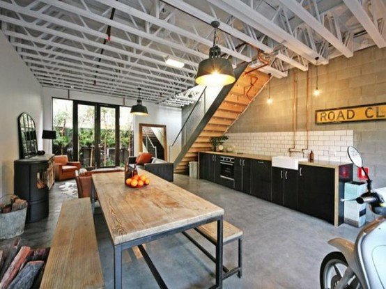 59 cool industrial kitchen designs that inspire digsdigs for Industrial design house plans