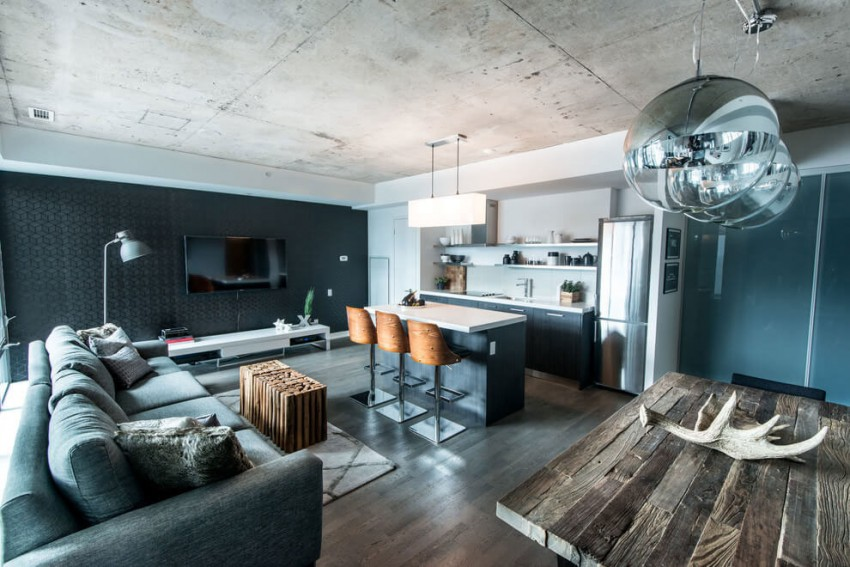 Industrial Loft Design With Natural Rough Wood Elements
