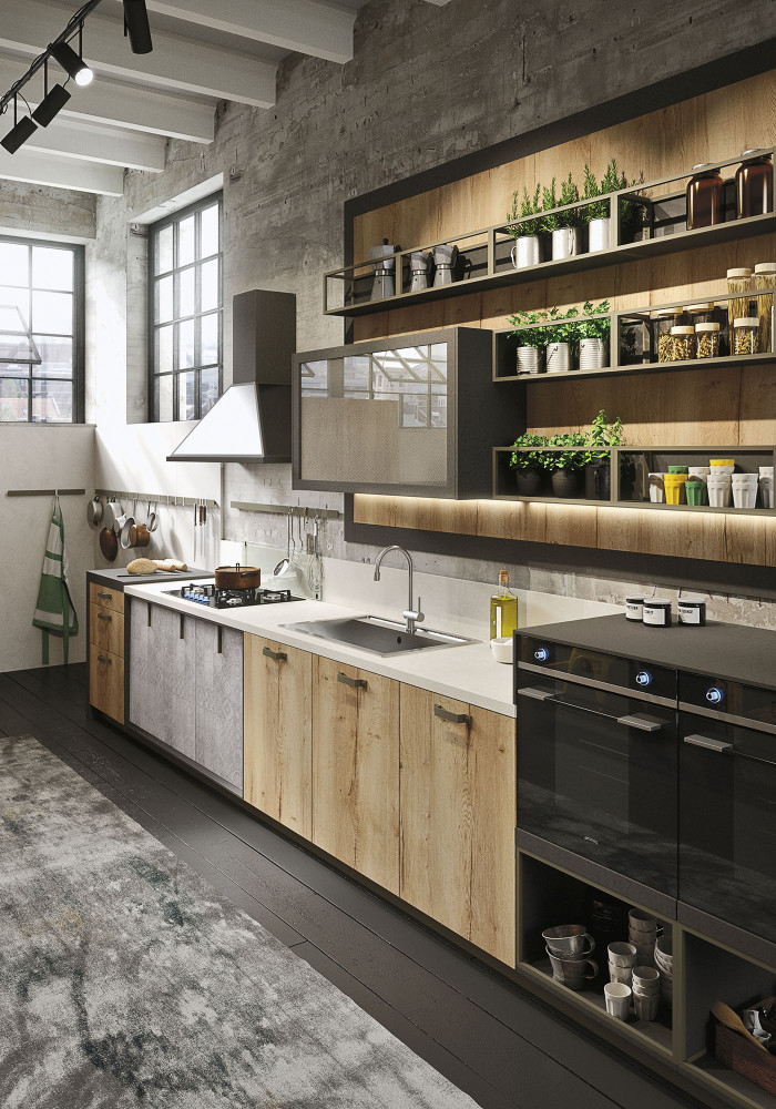 Industrial loft kitchen with light wood in design digsdigs for Attic kitchen designs