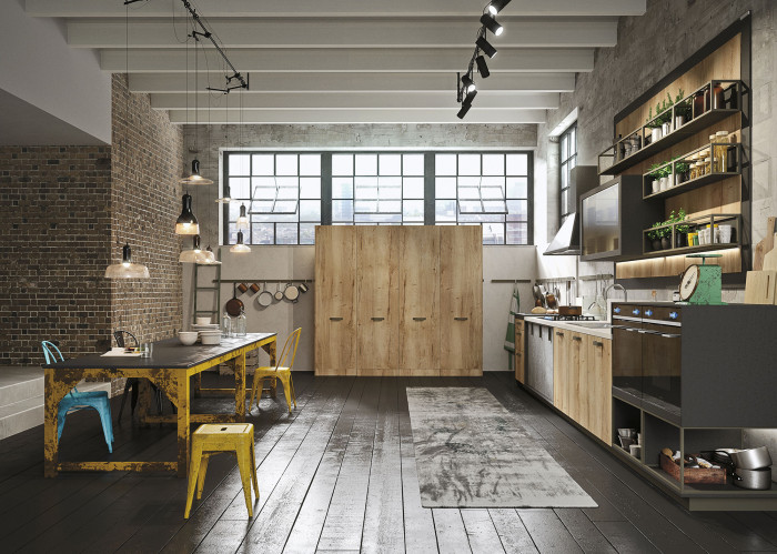 Industrial Loft Kitchen With Light Wood In Design