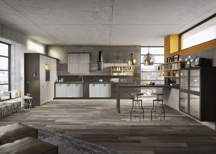 Picture Of industrial loft kitchen with light wood in design  9