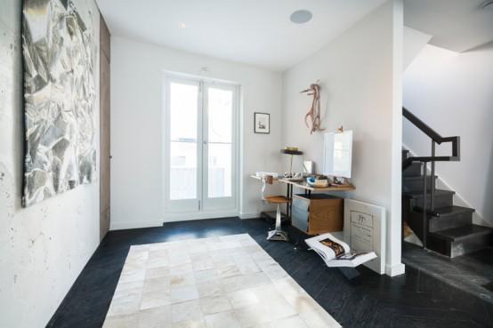 Industrial masculine loft designed with minimalist zones digsdigs - Elegant minimalist loft design in masculine vibe wooden decoration ...