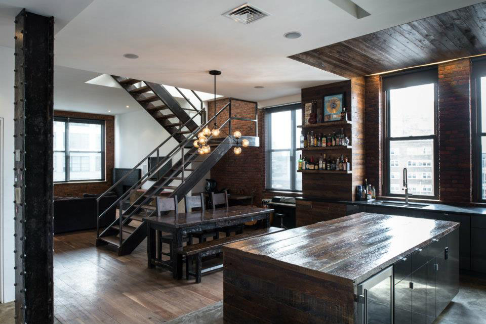 brutal industrial masculine penthouse in new york digsdigs. Black Bedroom Furniture Sets. Home Design Ideas