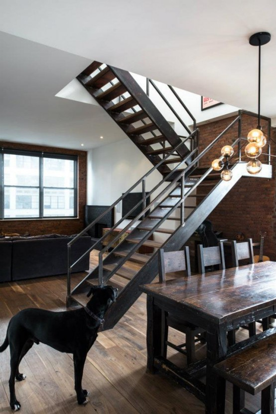 Industrial Masculine Penthouse In New York
