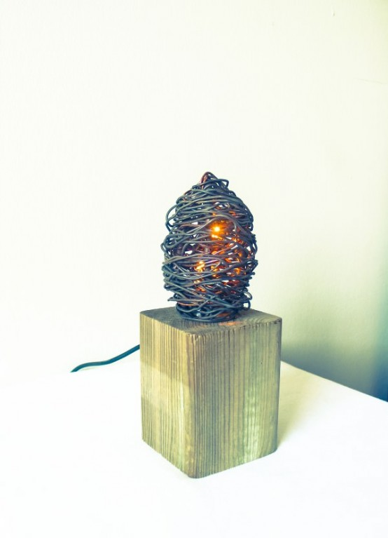 Industrial Wood And Metal Eco Lamp From Scraps
