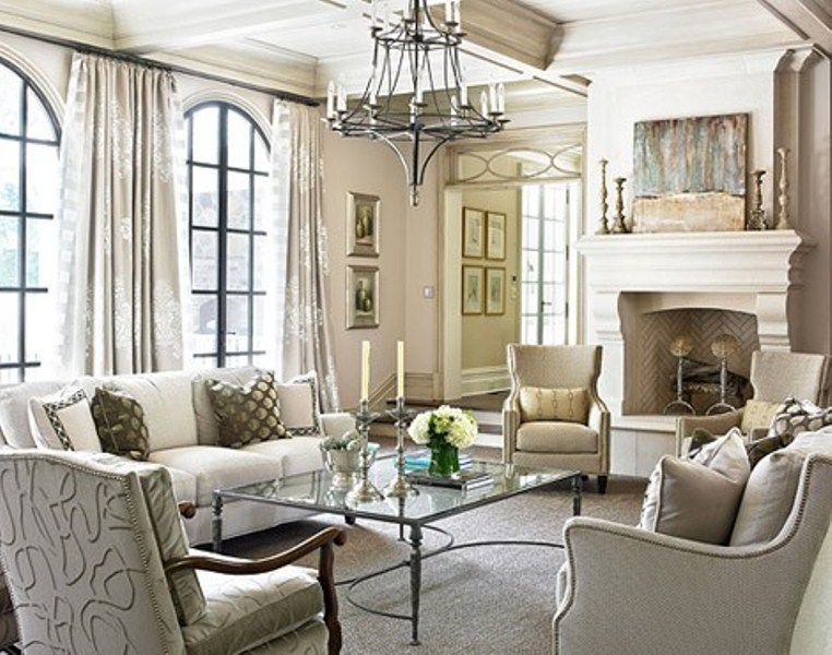 Gray And White Transitional Rustic Living Room With: 15 Inspiring Beige Living Room Designs