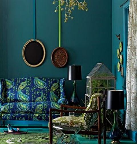 Turquoise is a great choice for a boho interior if you don't like airy, all-white rooms.