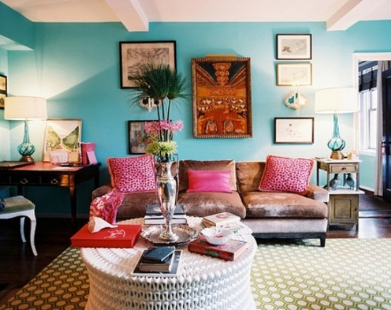 Consider a mix of bright colors, antique furniture and tribal wall art to create an ultimate boho living space.