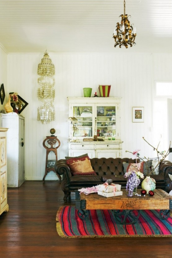 Intriguing antique furniture adds a layer of unique character to any boho living room and brings its history with it.
