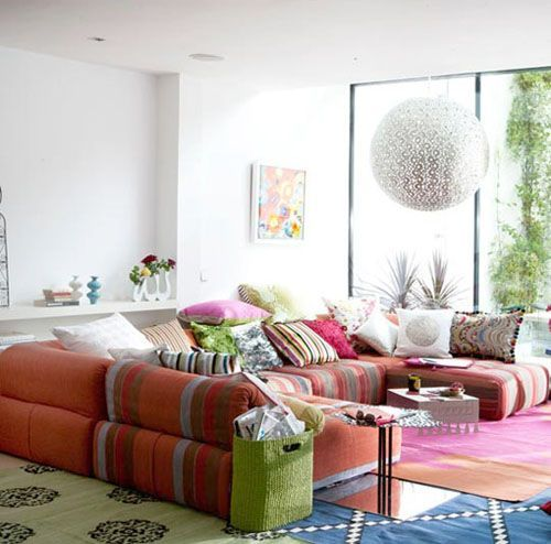 Ious Sofa With Lots Of Throw Pillows In Colorful Patterns Is The First Thing You Should