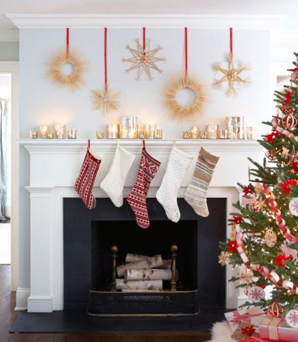 27 inspiring christmas fireplace mantel decoration ideas digsdigs - Deco de noel naturelle ...
