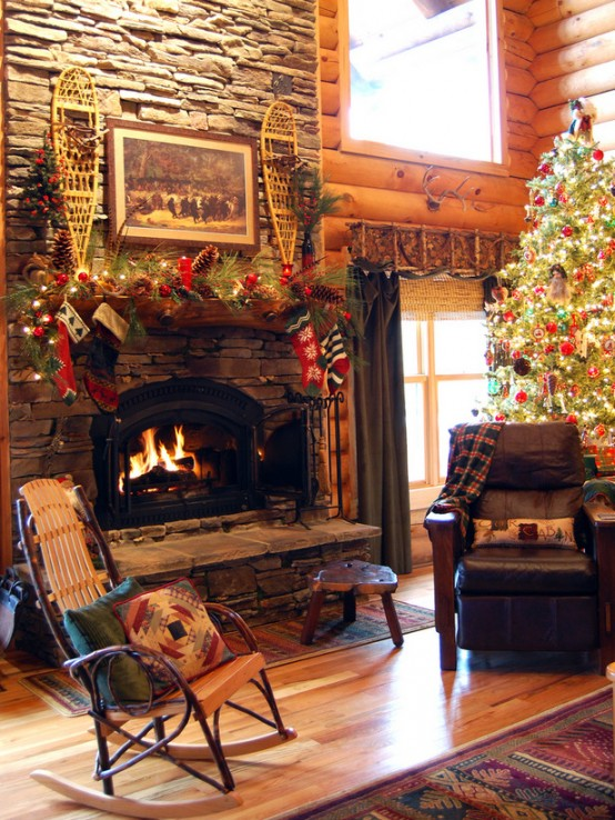 Rustic Christmas Fireplace