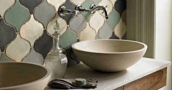 Moroccan tiles in muted colors for a sink backsplash