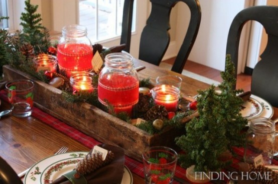 inspiring rustic christmas table setting - Rustic Christmas Centerpieces