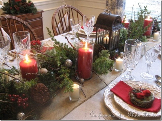 24 inspiring rustic christmas table settings digsdigs. Black Bedroom Furniture Sets. Home Design Ideas