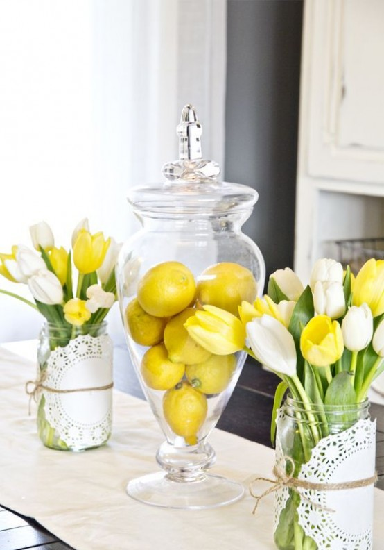 bright yellow tulips and yellow lemons in a jar are an easy and cool way to refresh your kitchen for spring