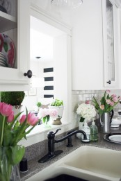 bright pink flowers and white blooms will easily refresh your kitchen for spring or for summer