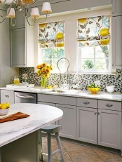 bright floral print Roman shades, sunflowers and sunny yellow touches here and there to refresh your kitchen look