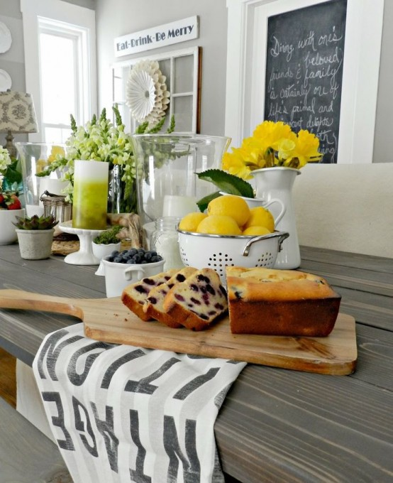 39 inspiring spring kitchen d cor ideas digsdigs for Kitchen table decoration ideas