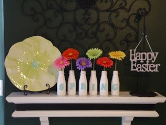 monogrammed bottles with bright blooms, a flower plate and an Easter sign