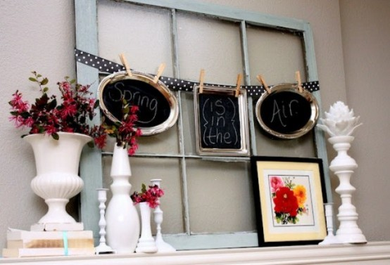 a polka dot bunting with chalkboard signs and fresh blooms for a spring mantel