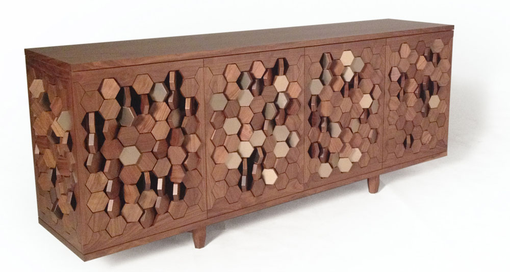 Interactive Bionic Sideboard With Rotating Hexagons