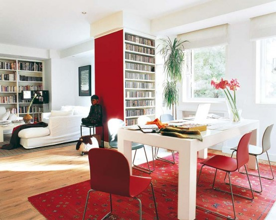 Interior of a House Decorated With a Lot of Red Accents