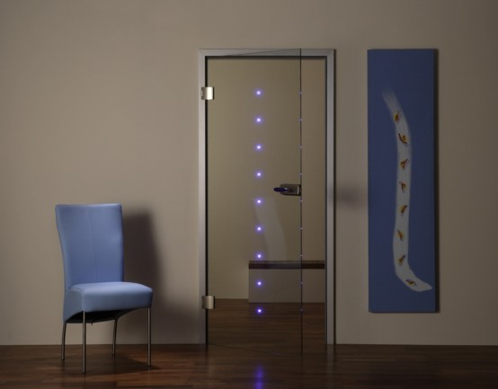 Transparent Interior Door With Built-In LEDs