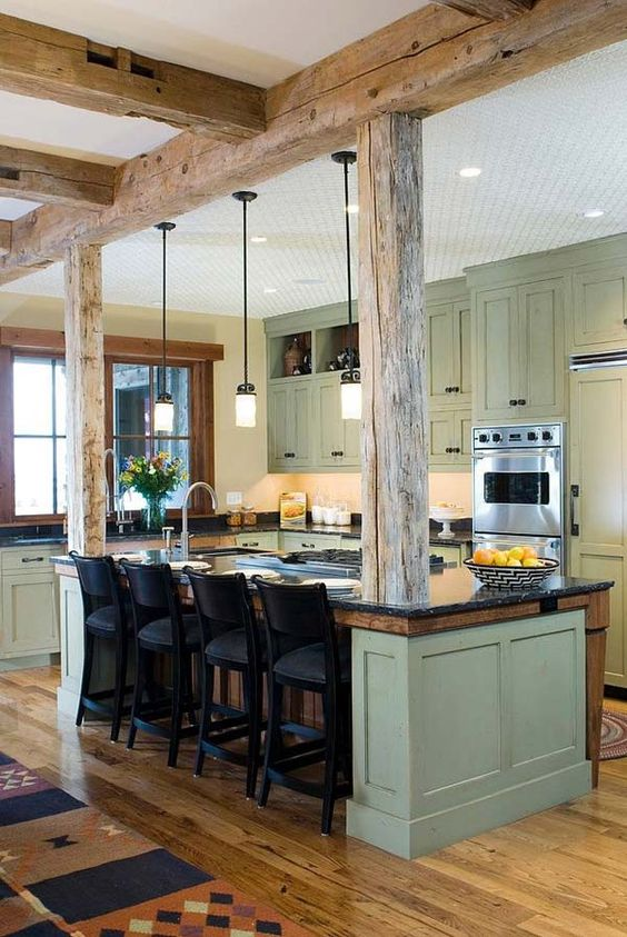 picture of inviting kitchen designs with exposed wooden