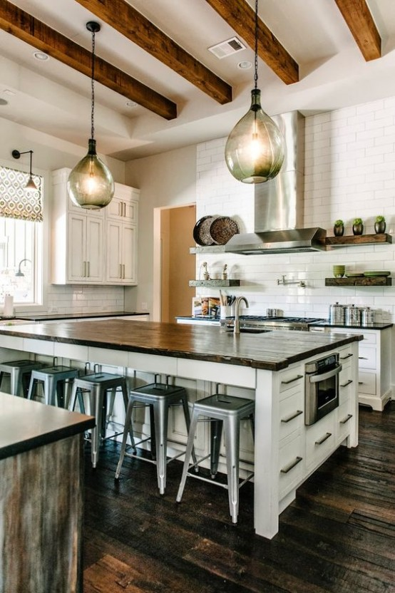 36 inviting kitchen designs with exposed wooden beams - Modern rustic kitchen designs ...