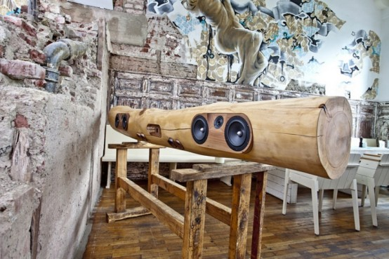 Iphone And Ipod Docking Station Of A Tree Trunk