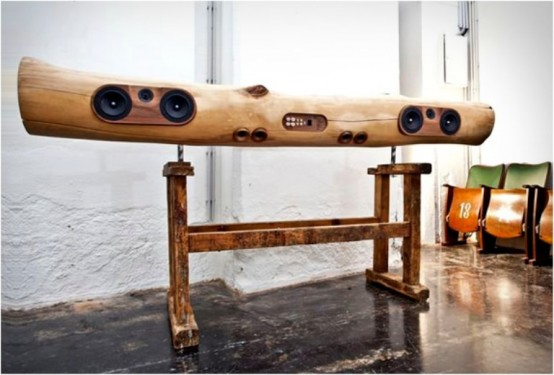 iPod And iPhone Docking Station Of A Tree Trunk