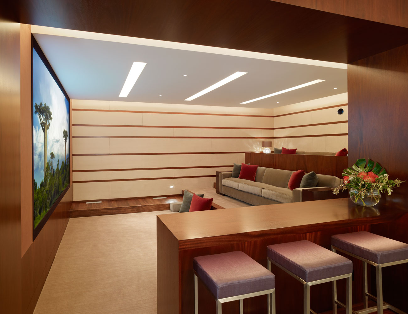Small Home Theater Design: Irregularly Shaped House With A Small Grove Of Eucalyptus