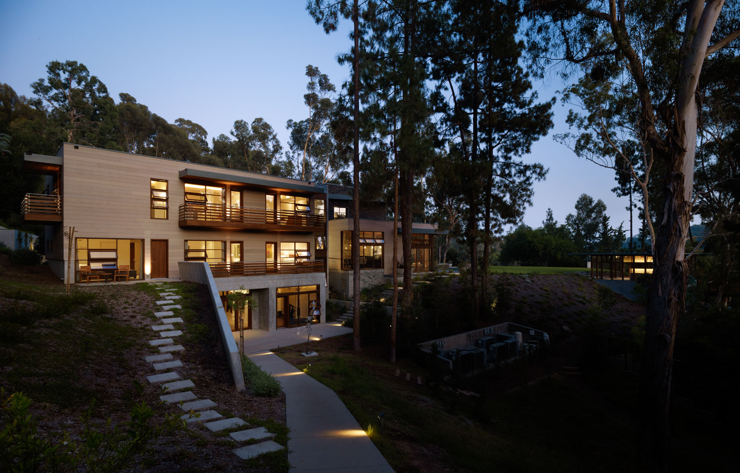 Irregularly shaped house with a small grove of eucalyptus for Big home designs
