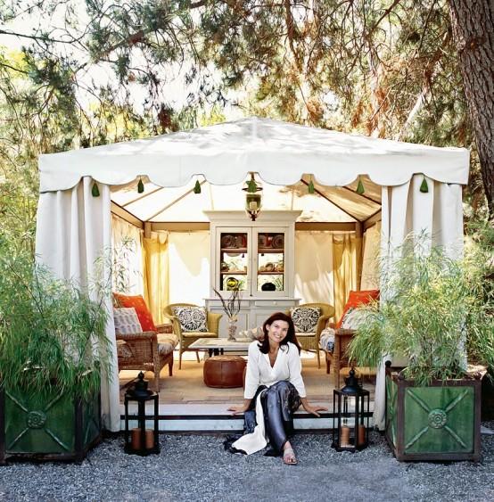 Italian Canvas Tent Veranda Decorated In Different Styles