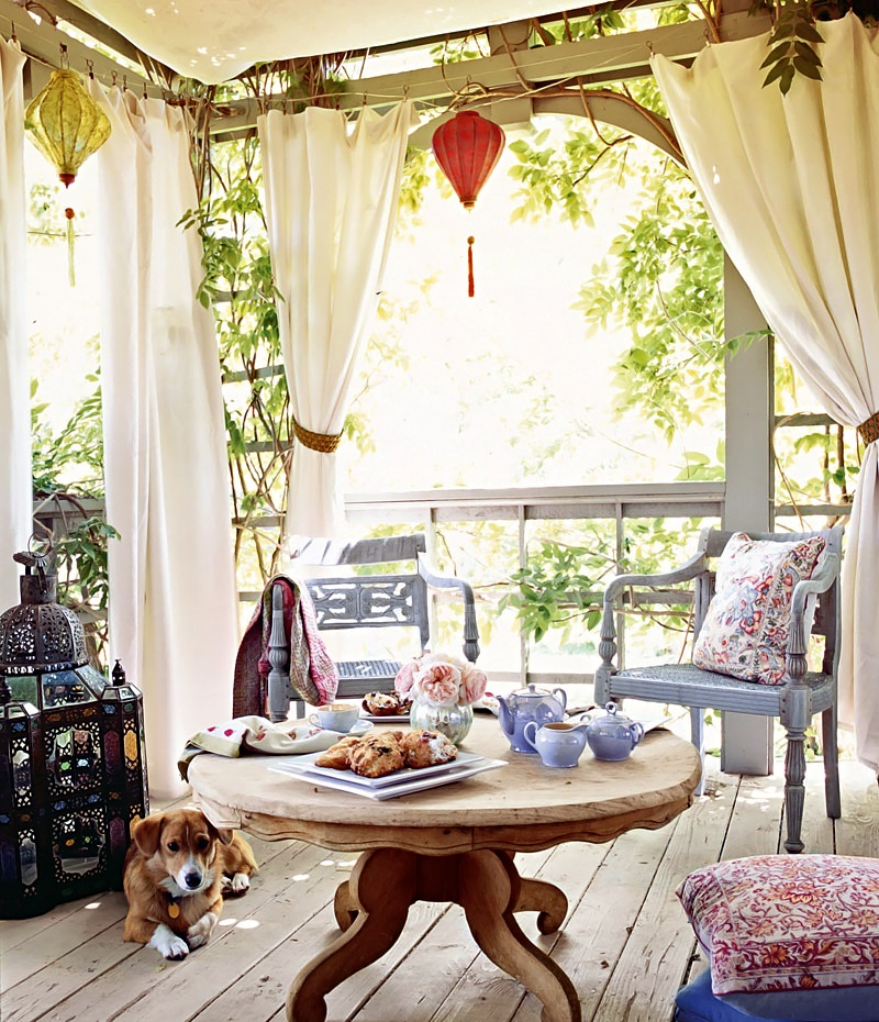 italian canvas tent veranda decorated in different styles. Black Bedroom Furniture Sets. Home Design Ideas