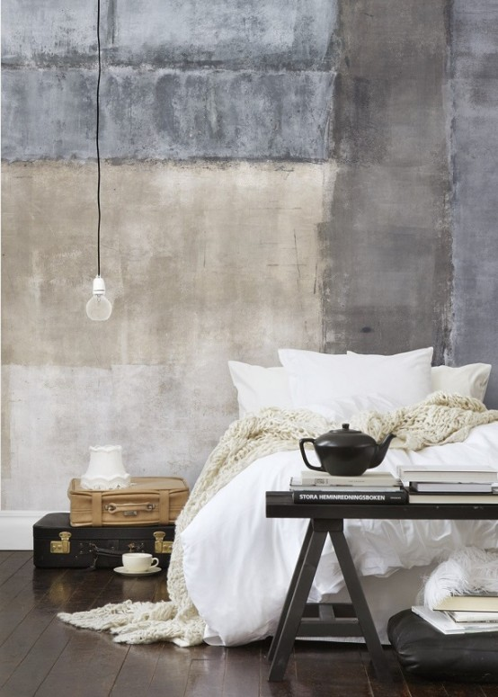 a touch of wabi-sabi in the bedroom - a rough concrete headboard wall painted partly looks super edgy
