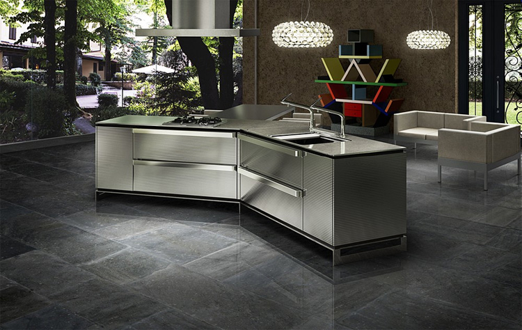 Dark Japanese Kitchen Designs with Innovative Island | DigsDigs