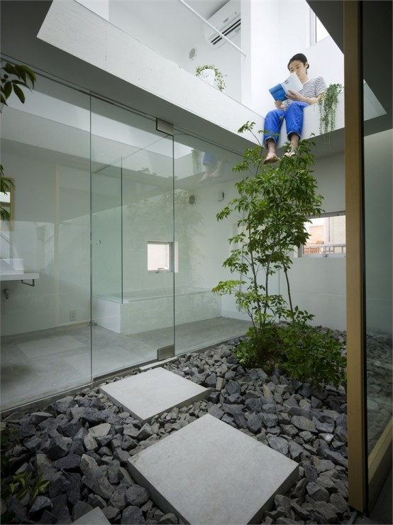 a contemporary Japanese courtyard with pebbles, stone tiles and a single tree growing