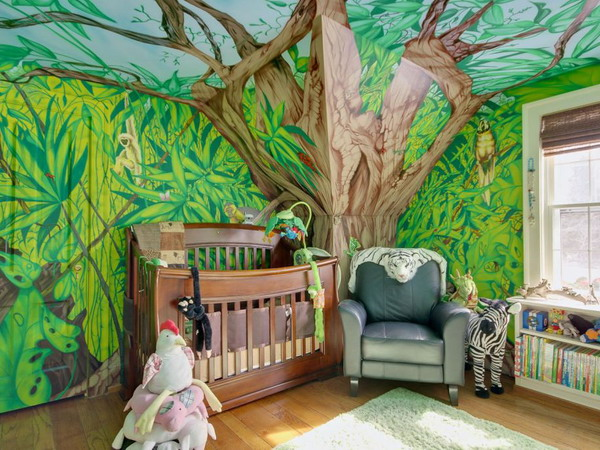 25 cool jungle inspired kids room designs digsdigs for Decoration chambre jungle