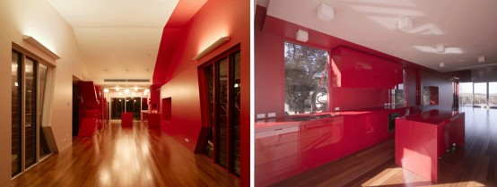 K House – Unusual Beach House with Red Interior