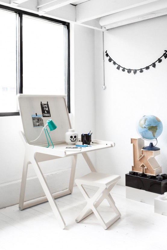 K Shaped Kids' Desk With A Lid And A Second Surface