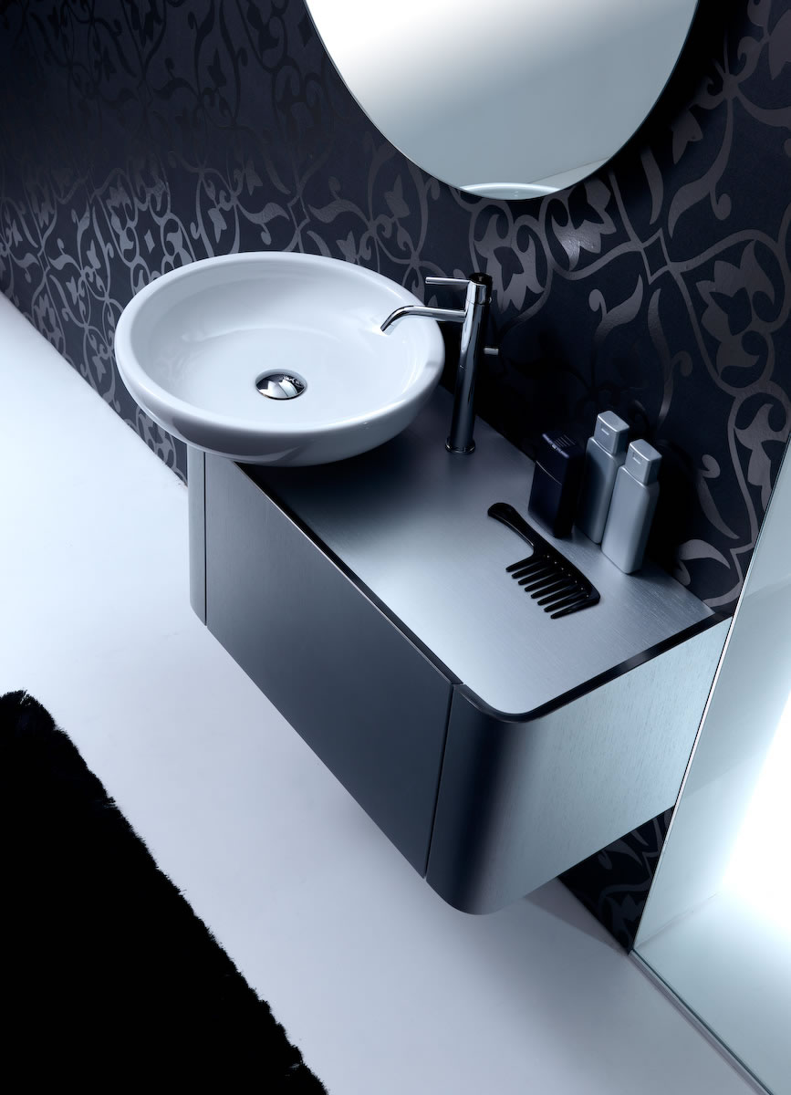 Rounded Bathroom Cabinets with Reduced Depth - K08 from Karol - DigsDigs