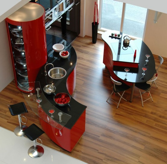 kiche concept ferrari rot 1 554x542 Kitchens from Snaidero   really trend looking Kitchen