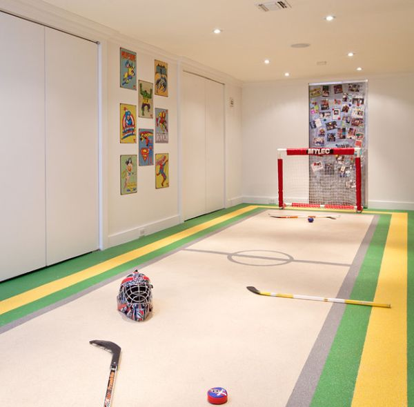 hockey room for kids could fit a standard basement