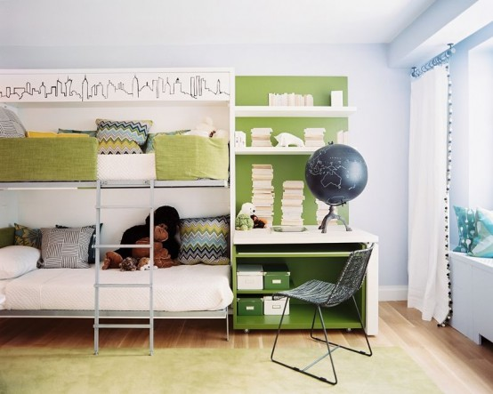 Shared teenage bedroom for teens with a study space.
