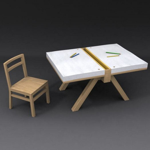 Original Drawing Table for Two Kids – Foglio by Domodinamica