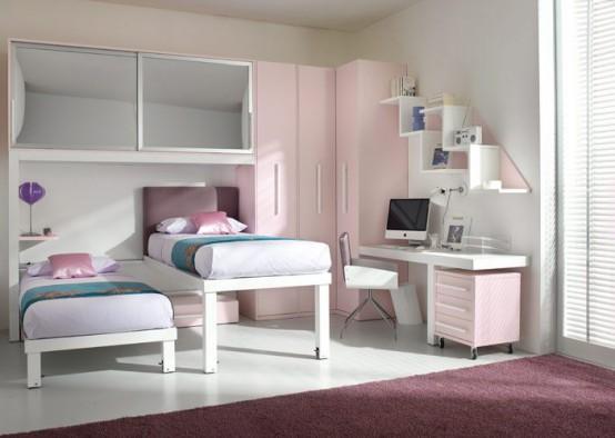 ديكور غرف نوم للبنات رقة ونعومة kids-loft-doublebeds