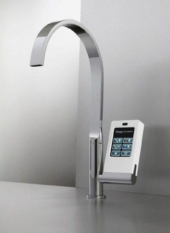 Hi-Tech Kitchen Faucet With Touch-Screen Controller