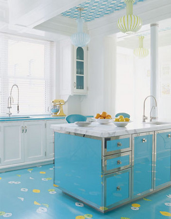 Bright Blue Kitchen Island Is A Perfect Color Splash To Any Kitchen.